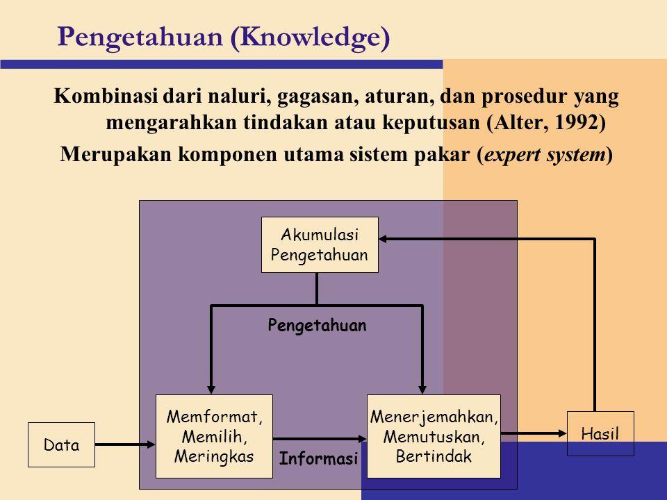Pengetahuan (Knowledge) Kombinasi dari naluri, gagasan, aturan, dan prosedur yang mengarahkan tindakan atau keputusan (Alter, 1992) Merupakan komponen