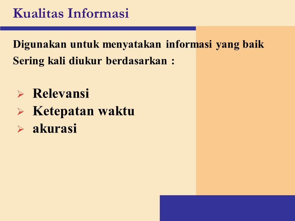 Kualitas Informasi Digunakan untuk menyatakan informasi yang baik Sering kali diukur berdasarkan :  Relevansi  Ketepatan waktu  akurasi