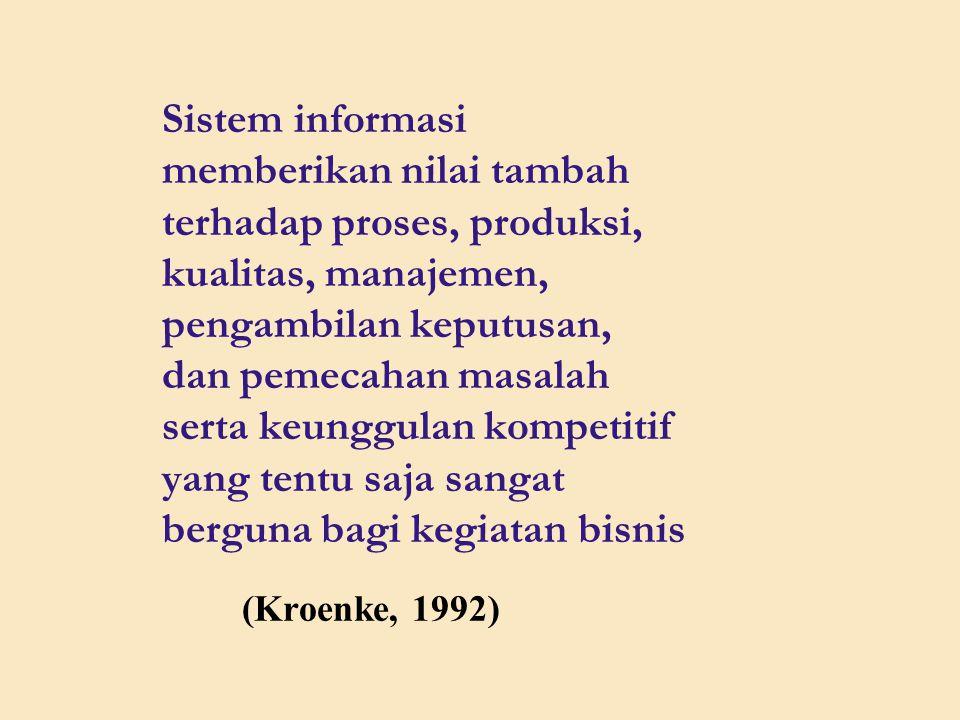 Sistem informasi memberikan nilai tambah terhadap proses, produksi, kualitas, manajemen, pengambilan keputusan, dan pemecahan masalah serta keunggulan