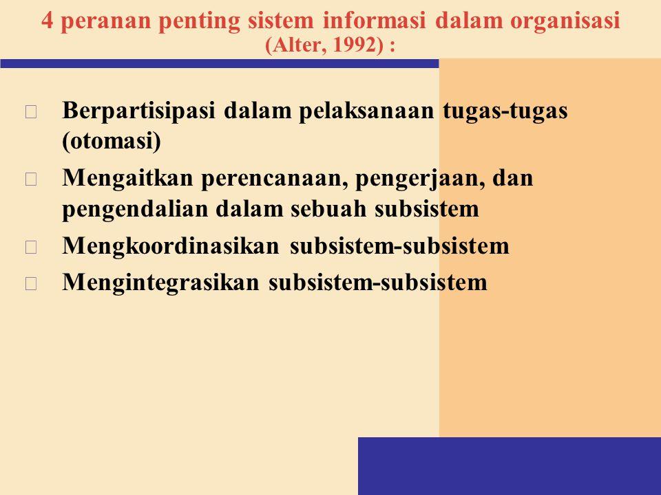 4 peranan penting sistem informasi dalam organisasi (Alter, 1992) : v Berpartisipasi dalam pelaksanaan tugas-tugas (otomasi) v Mengaitkan perencanaan,