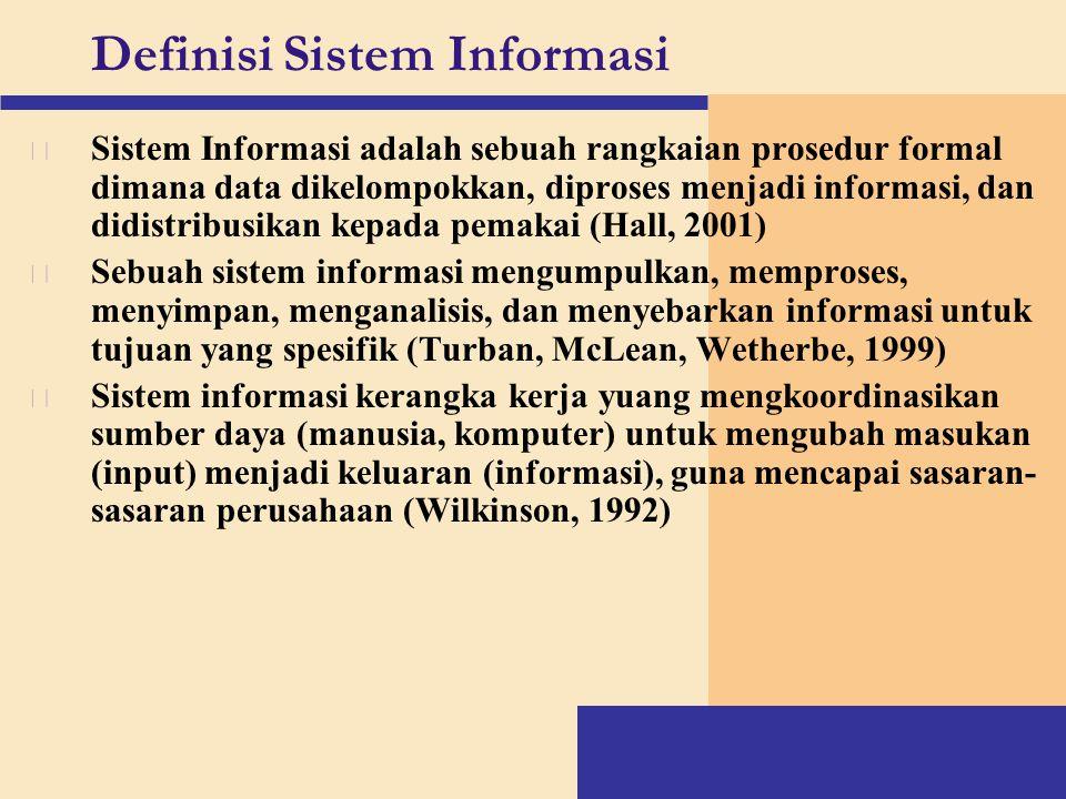 Definisi Sistem Informasi v Sistem Informasi adalah sebuah rangkaian prosedur formal dimana data dikelompokkan, diproses menjadi informasi, dan didist
