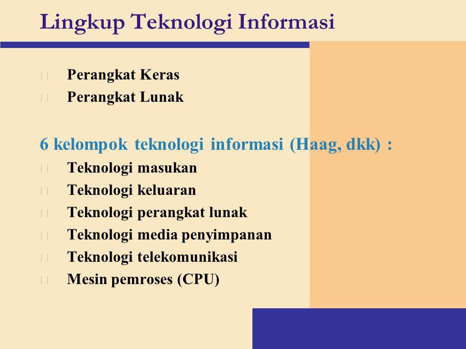 Lingkup Teknologi Informasi v Perangkat Keras v Perangkat Lunak 6 kelompok teknologi informasi (Haag, dkk) : v Teknologi masukan v Teknologi keluaran