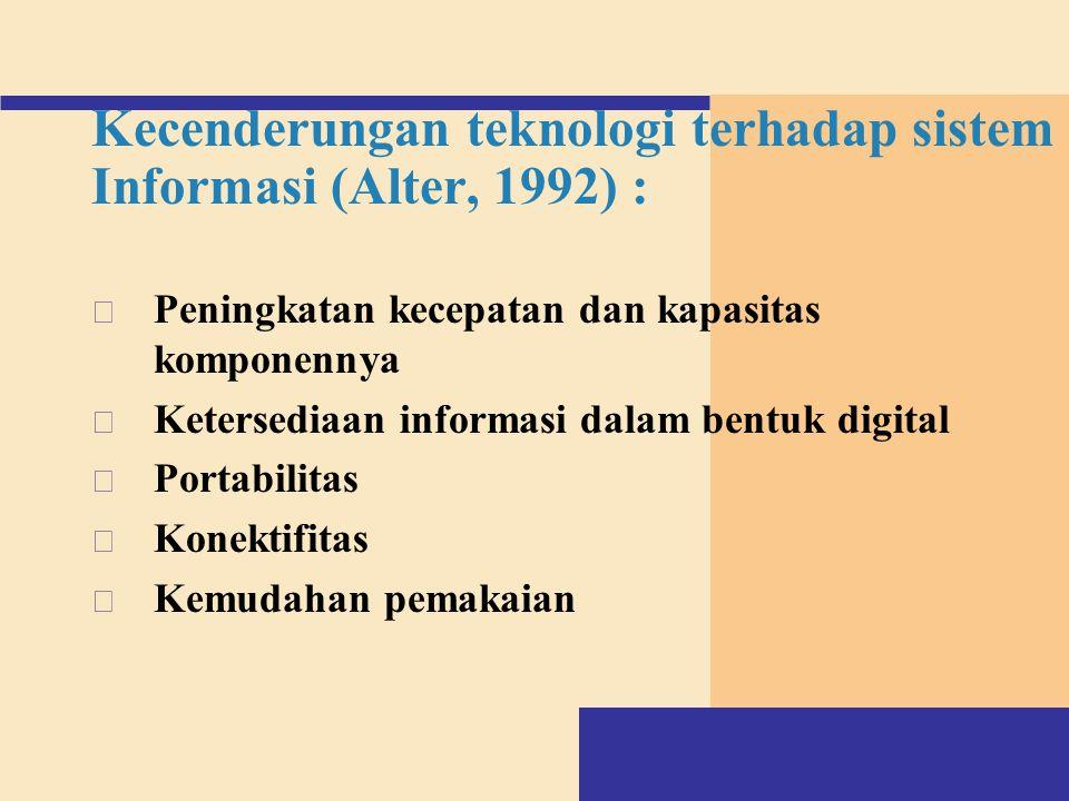 Kecenderungan teknologi terhadap sistem Informasi (Alter, 1992) : v Peningkatan kecepatan dan kapasitas komponennya v Ketersediaan informasi dalam ben