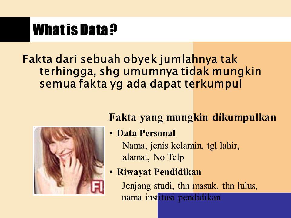 What is Data ? Fakta dari sebuah obyek jumlahnya tak terhingga, shg umumnya tidak mungkin semua fakta yg ada dapat terkumpul Fakta yang mungkin dikump