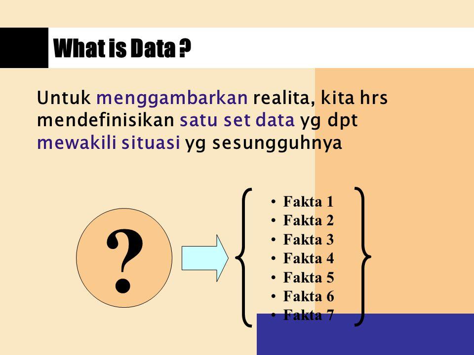 What is Data ? Untuk menggambarkan realita, kita hrs mendefinisikan satu set data yg dpt mewakili situasi yg sesungguhnya ? Fakta 1 Fakta 2 Fakta 3 Fa