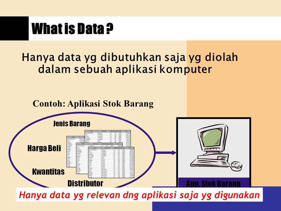 What is Data ? App. Stok Barang Distributor Hanya data yg dibutuhkan saja yg diolah dalam sebuah aplikasi komputer Contoh: Aplikasi Stok Barang Jenis