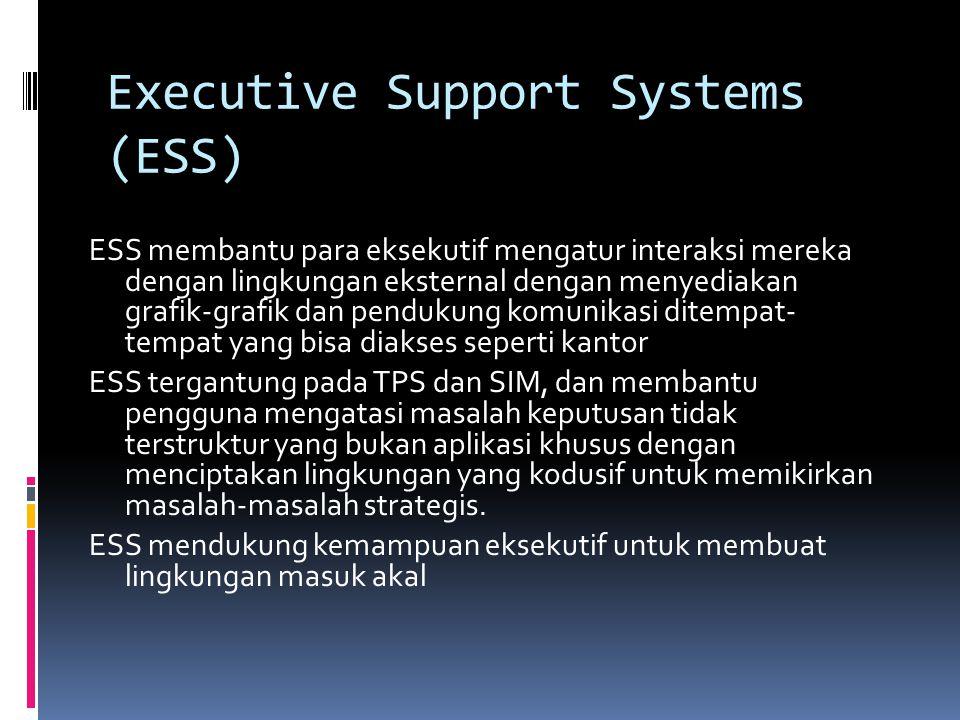 Executive Support Systems (ESS) ESS membantu para eksekutif mengatur interaksi mereka dengan lingkungan eksternal dengan menyediakan grafik-grafik dan