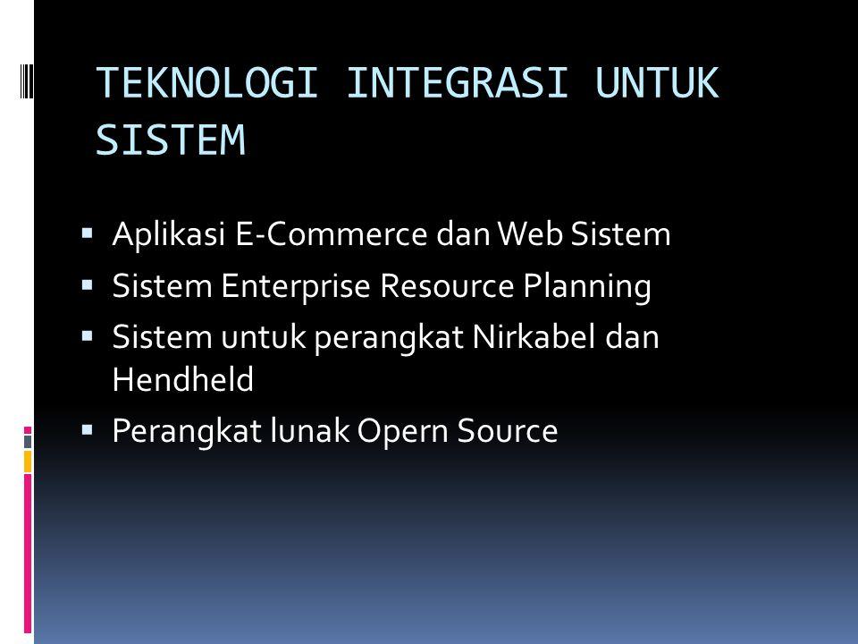 TEKNOLOGI INTEGRASI UNTUK SISTEM  Aplikasi E-Commerce dan Web Sistem  Sistem Enterprise Resource Planning  Sistem untuk perangkat Nirkabel dan Hend
