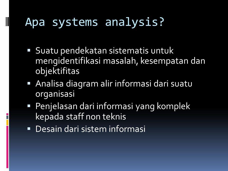 Apa systems analysis?  Suatu pendekatan sistematis untuk mengidentifikasi masalah, kesempatan dan objektifitas  Analisa diagram alir informasi dari
