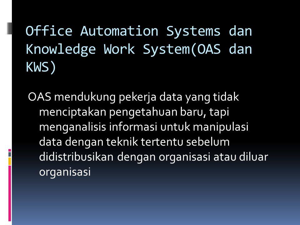 Office Automation Systems dan Knowledge Work System(OAS dan KWS) OAS mendukung pekerja data yang tidak menciptakan pengetahuan baru, tapi menganalisis