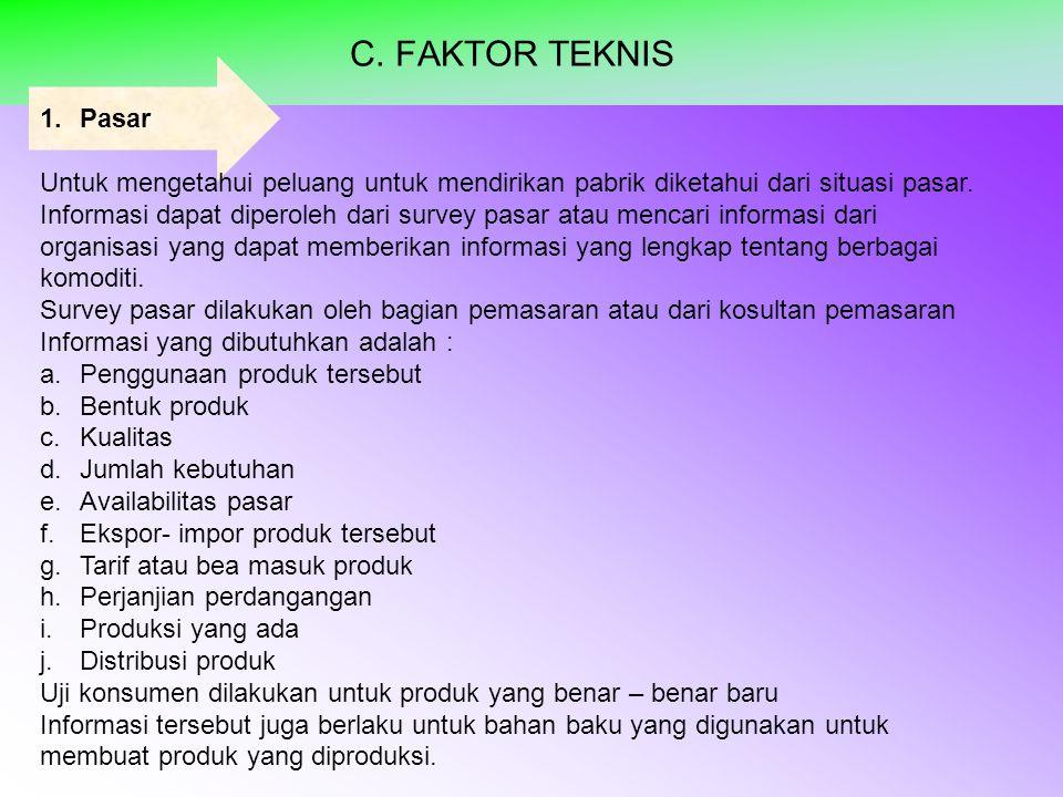 C. FAKTOR TEKNIS 1.Pasar Untuk mengetahui peluang untuk mendirikan pabrik diketahui dari situasi pasar. Informasi dapat diperoleh dari survey pasar at
