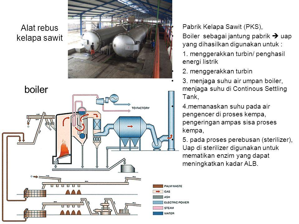 Alat rebus kelapa sawit Pabrik Kelapa Sawit (PKS), Boiler sebagai jantung pabrik  uap yang dihasilkan digunakan untuk : 1. menggerakkan turbin/ pengh
