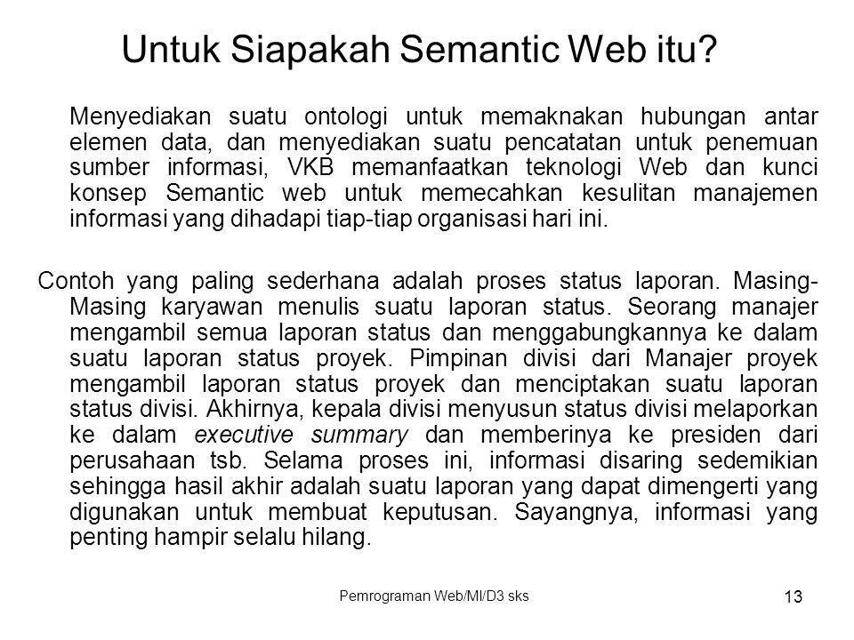 Pemrograman Web/MI/D3 sks 13 Menyediakan suatu ontologi untuk memaknakan hubungan antar elemen data, dan menyediakan suatu pencatatan untuk penemuan s