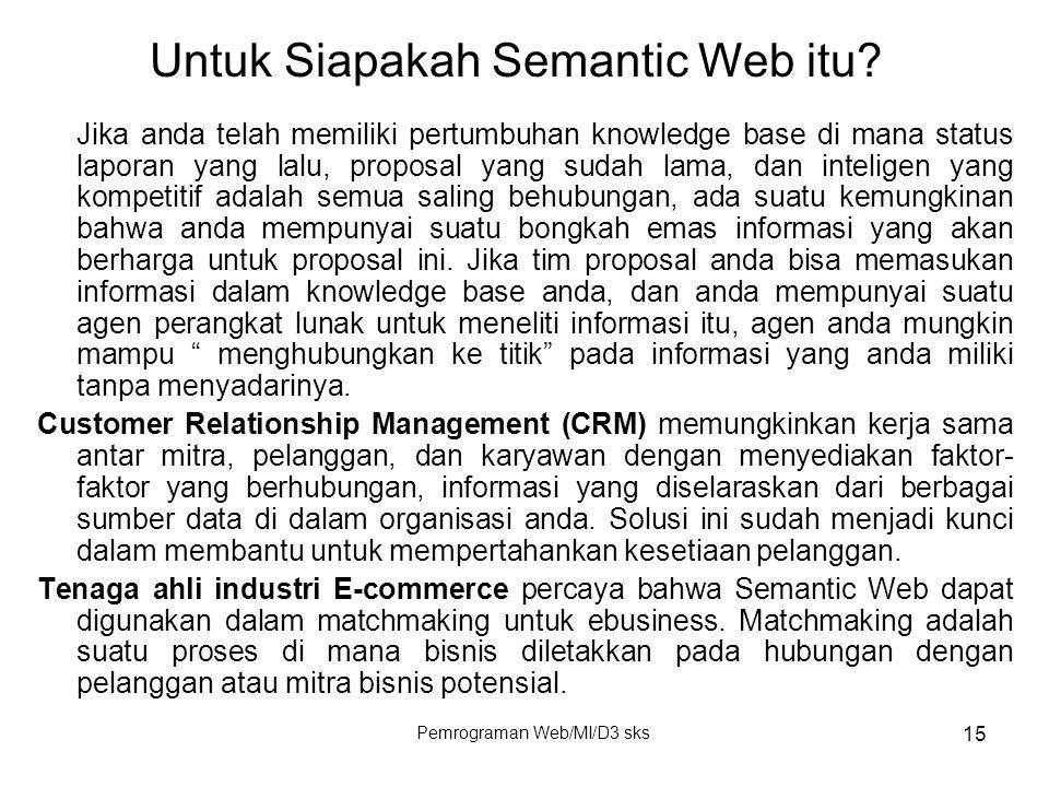 Pemrograman Web/MI/D3 sks 15 Jika anda telah memiliki pertumbuhan knowledge base di mana status laporan yang lalu, proposal yang sudah lama, dan intel