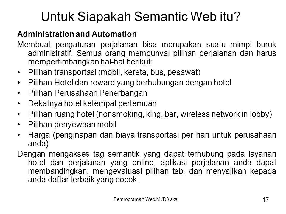 Pemrograman Web/MI/D3 sks 17 Administration and Automation Membuat pengaturan perjalanan bisa merupakan suatu mimpi buruk administratif. Semua orang m