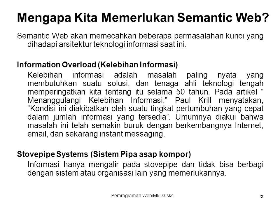 Pemrograman Web/MI/D3 sks 5 Mengapa Kita Memerlukan Semantic Web? Semantic Web akan memecahkan beberapa permasalahan kunci yang dihadapi arsitektur te