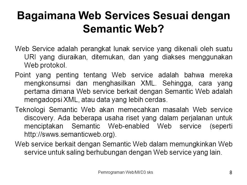 Pemrograman Web/MI/D3 sks 8 Bagaimana Web Services Sesuai dengan Semantic Web? Web Service adalah perangkat lunak service yang dikenali oleh suatu URI