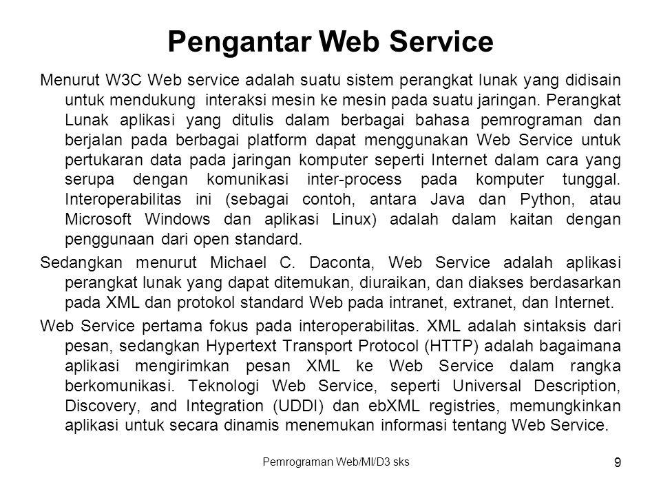 Pemrograman Web/MI/D3 sks 9 Pengantar Web Service Menurut W3C Web service adalah suatu sistem perangkat lunak yang didisain untuk mendukung interaksi