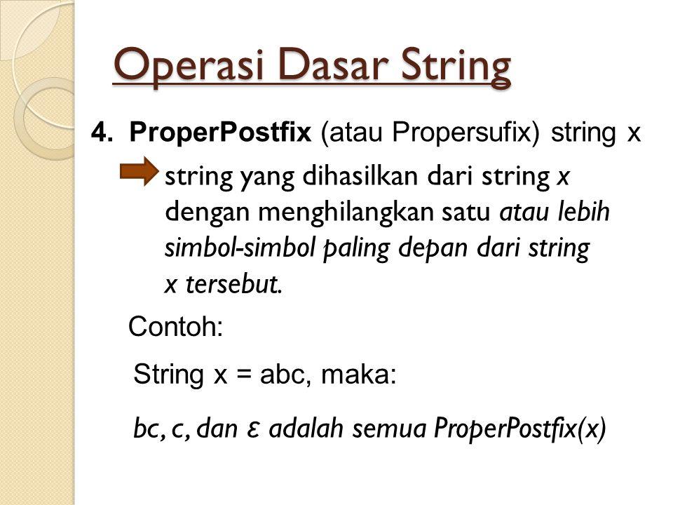 Operasi Dasar String 4.ProperPostfix (atau Propersufix) string x string yang dihasilkan dari string x dengan menghilangkan satu atau lebih simbol-simb