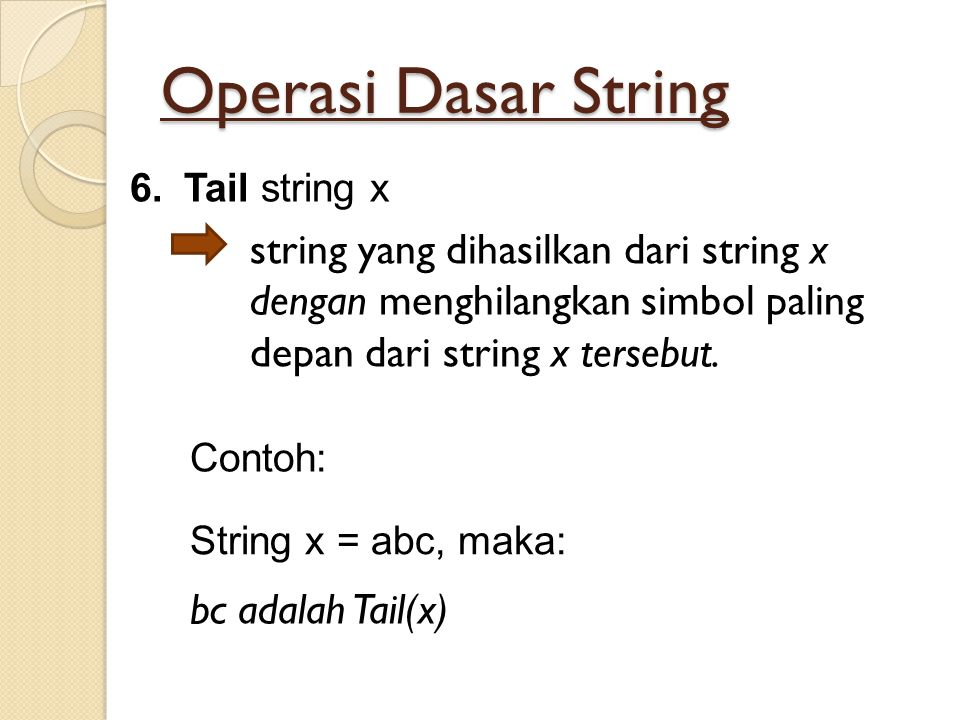 Operasi Dasar String 6.Tail string x string yang dihasilkan dari string x dengan menghilangkan simbol paling depan dari string x tersebut. String x =