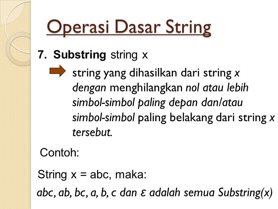 Operasi Dasar String 7.Substring string x string yang dihasilkan dari string x dengan menghilangkan nol atau lebih simbol-simbol paling depan dan/atau
