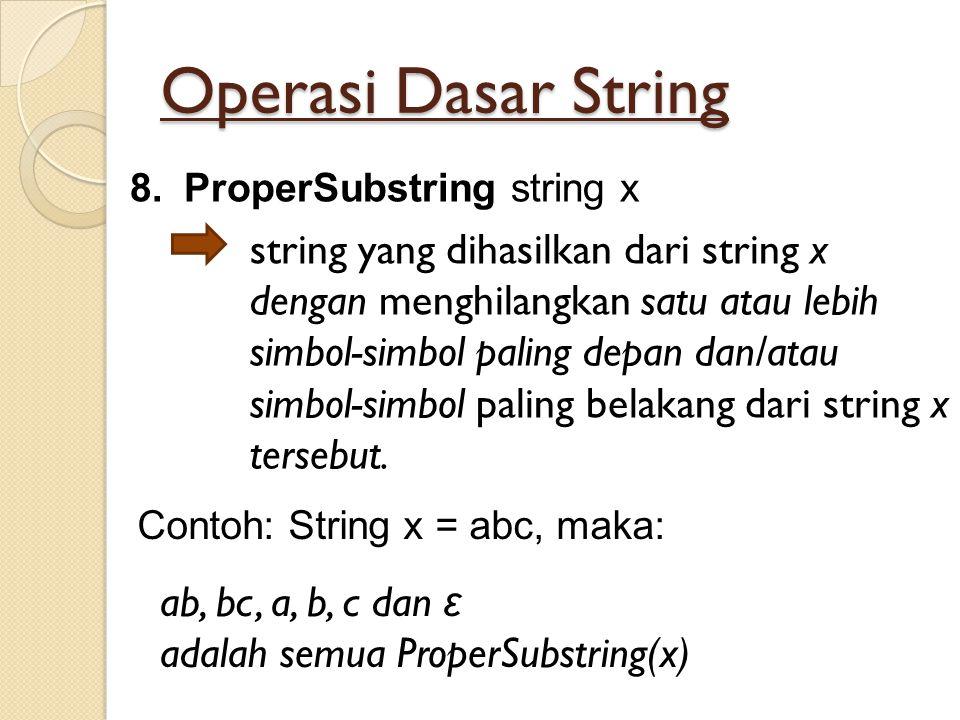 Operasi Dasar String 8.ProperSubstring string x string yang dihasilkan dari string x dengan menghilangkan satu atau lebih simbol-simbol paling depan d
