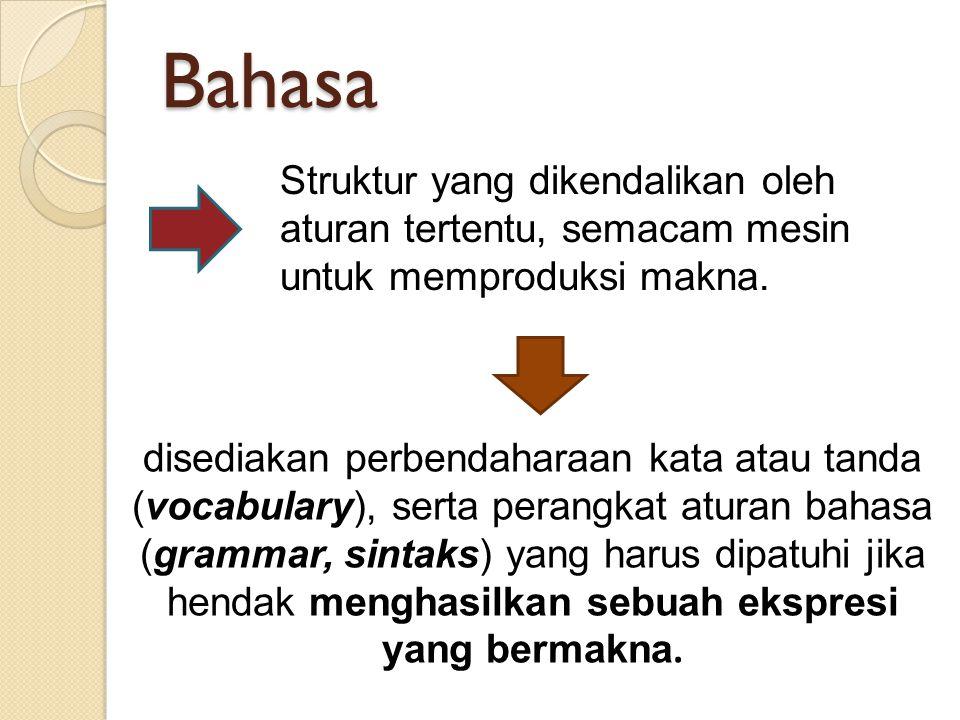 Bahasa Struktur yang dikendalikan oleh aturan tertentu, semacam mesin untuk memproduksi makna. disediakan perbendaharaan kata atau tanda (vocabulary),