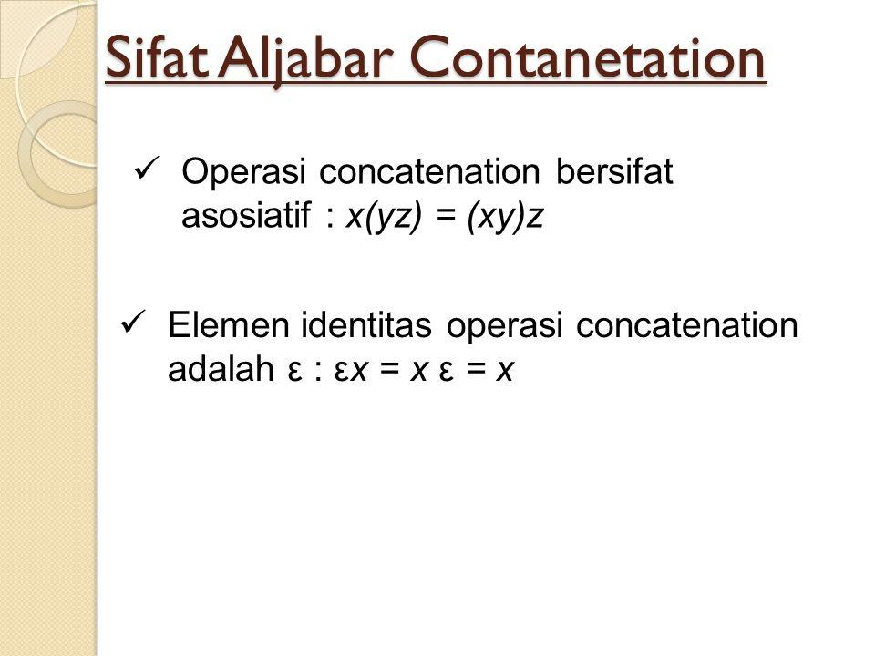 Sifat Aljabar Contanetation Operasi concatenation bersifat asosiatif : x(yz) = (xy)z Elemen identitas operasi concatenation adalah ε : εx = x ε = x