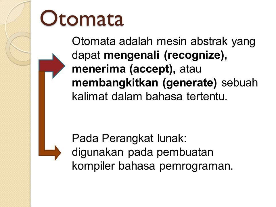 Otomata Otomata adalah mesin abstrak yang dapat mengenali (recognize), menerima (accept), atau membangkitkan (generate) sebuah kalimat dalam bahasa te