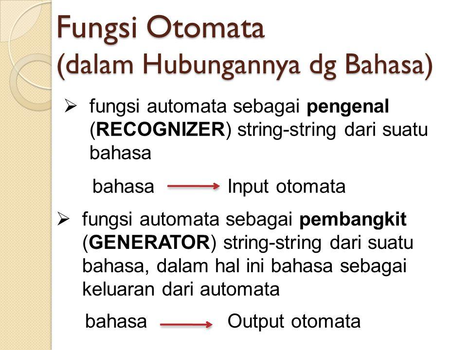 Fungsi Otomata (dalam Hubungannya dg Bahasa)  fungsi automata sebagai pengenal (RECOGNIZER) string-string dari suatu bahasa  fungsi automata sebagai