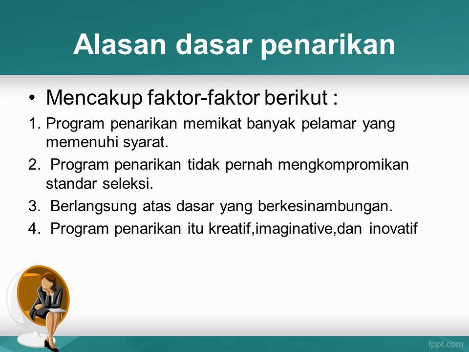 Alasan dasar penarikan Mencakup faktor-faktor berikut : 1.Program penarikan memikat banyak pelamar yang memenuhi syarat. 2. Program penarikan tidak pe