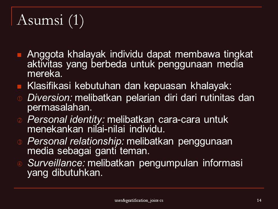 uses&gratification_joice cs 14 Asumsi (1) Anggota khalayak individu dapat membawa tingkat aktivitas yang berbeda untuk penggunaan media mereka. Klasif
