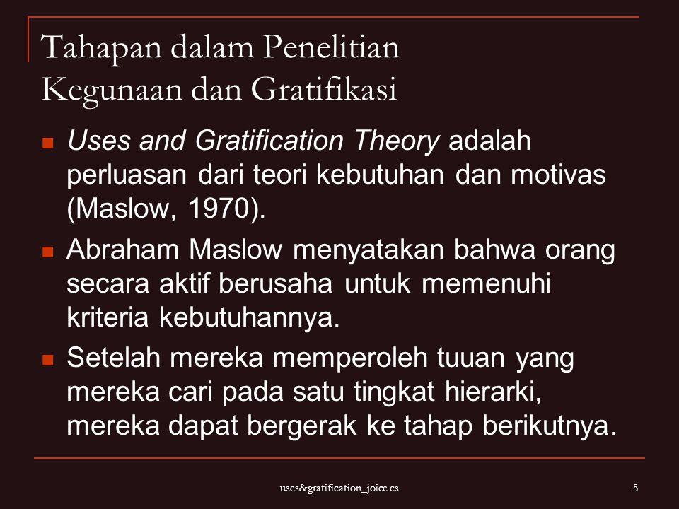 uses&gratification_joice cs 5 Tahapan dalam Penelitian Kegunaan dan Gratifikasi Uses and Gratification Theory adalah perluasan dari teori kebutuhan da