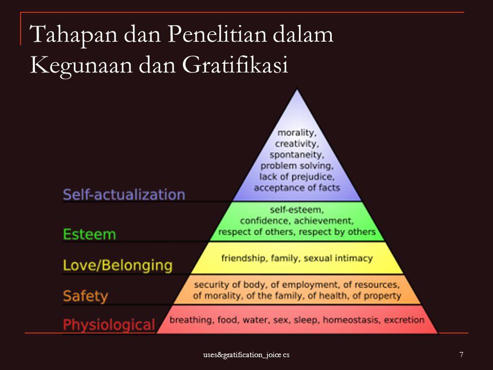 uses&gratification_joice cs 7 Tahapan dan Penelitian dalam Kegunaan dan Gratifikasi