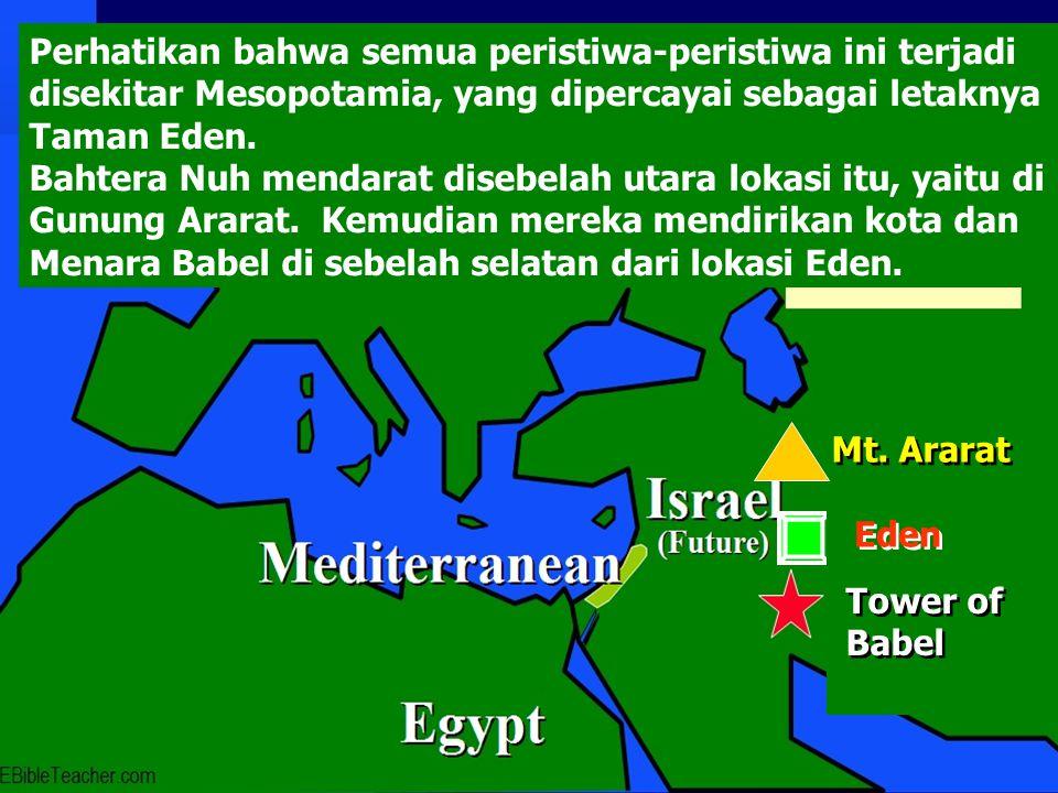 Mt. Ararat Eden Tower of Babel Tower of Babel Perhatikan bahwa semua peristiwa-peristiwa ini terjadi disekitar Mesopotamia, yang dipercayai sebagai le