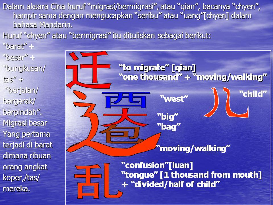 "Dalam aksara Cina huruf ""migrasi/bermigrasi"", atau ""qian"", bacanya ""chyen"", hampir sama dengan mengucapkan ""seribu"" atau ""uang""[chyen] dalam bahasa Ma"