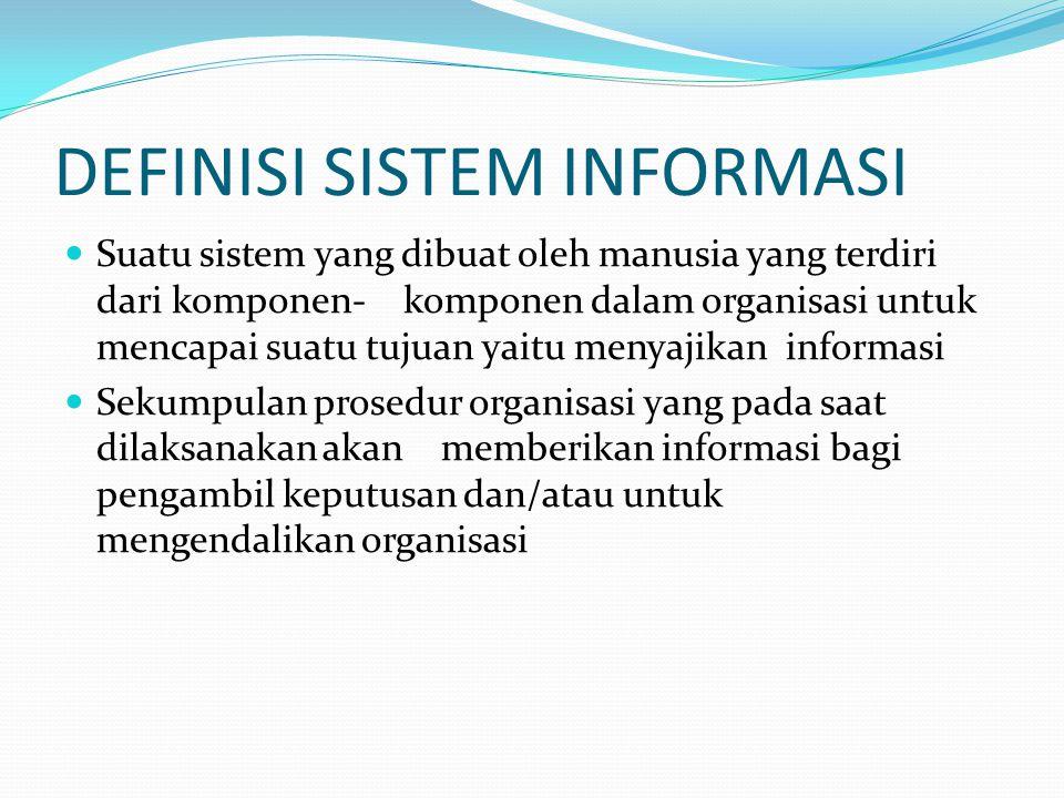 DEFINISI SISTEM INFORMASI Suatu sistem yang dibuat oleh manusia yang terdiri dari komponen- komponen dalam organisasi untuk mencapai suatu tujuan yait