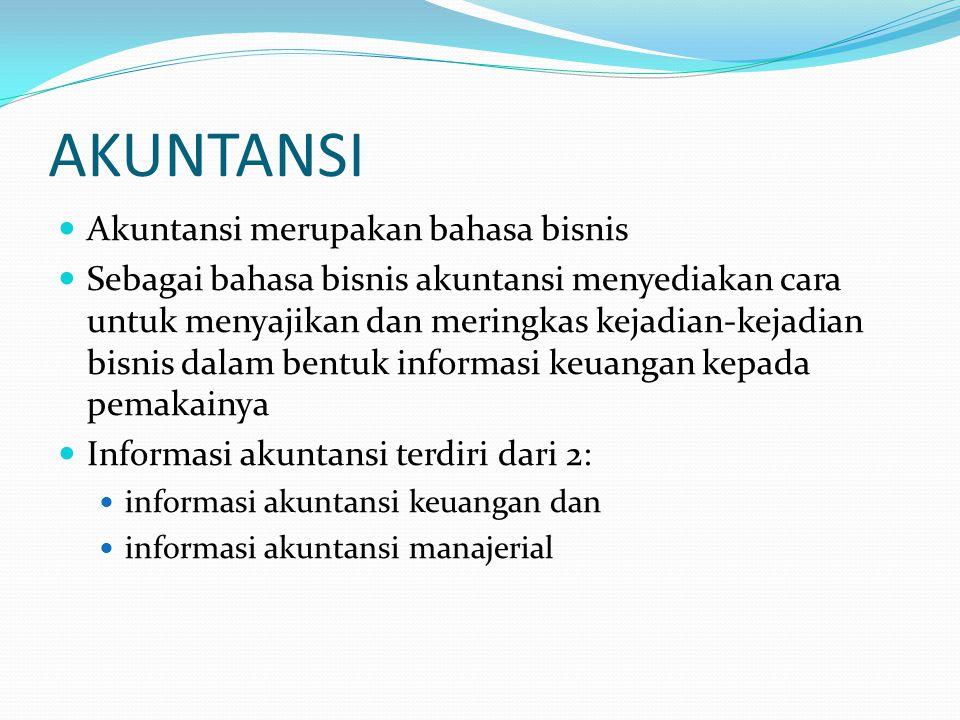 AKUNTANSI Akuntansi merupakan bahasa bisnis Sebagai bahasa bisnis akuntansi menyediakan cara untuk menyajikan dan meringkas kejadian-kejadian bisnis d