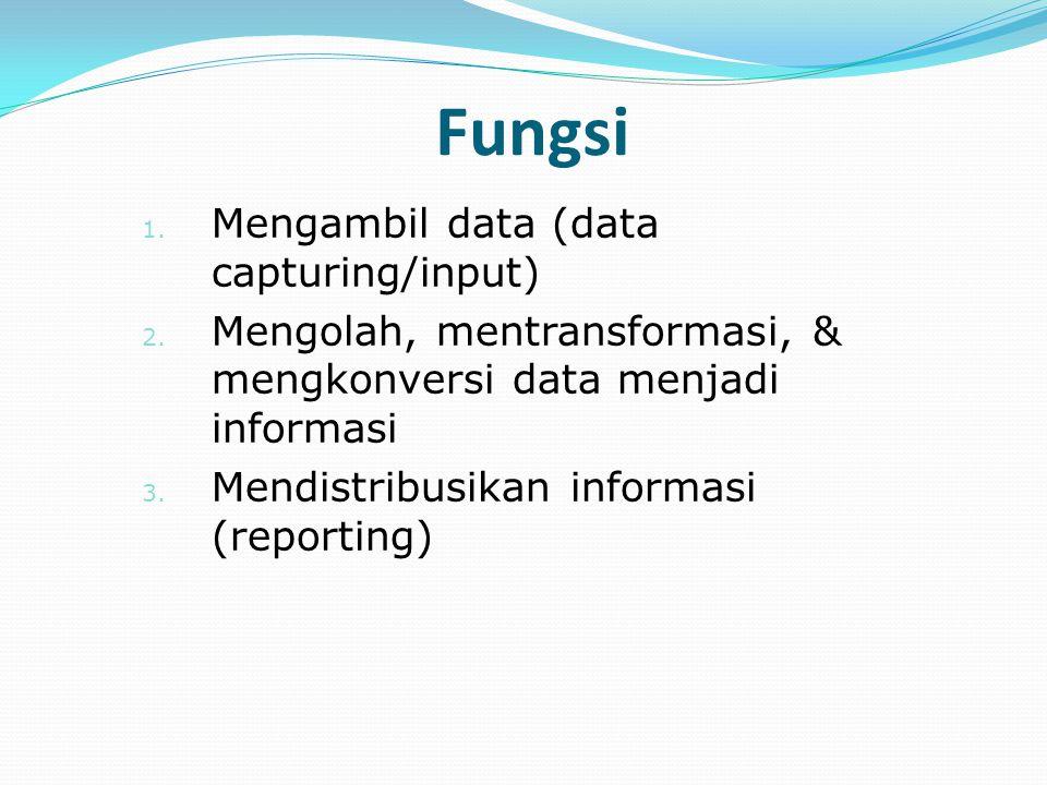 1. Mengambil data (data capturing/input) 2. Mengolah, mentransformasi, & mengkonversi data menjadi informasi 3. Mendistribusikan informasi (reporting)