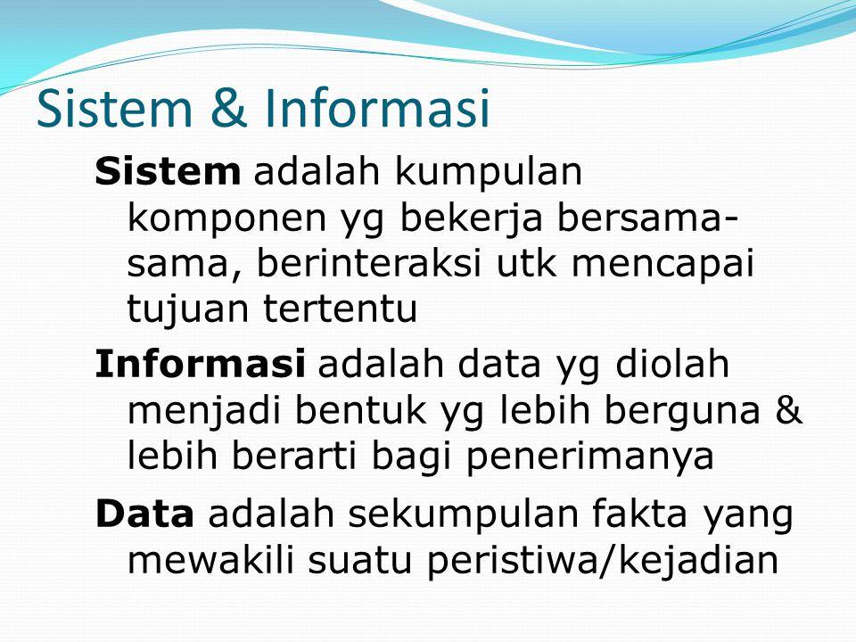 Sistem & Informasi Sistem adalah kumpulan komponen yg bekerja bersama- sama, berinteraksi utk mencapai tujuan tertentu Informasi adalah data yg diolah
