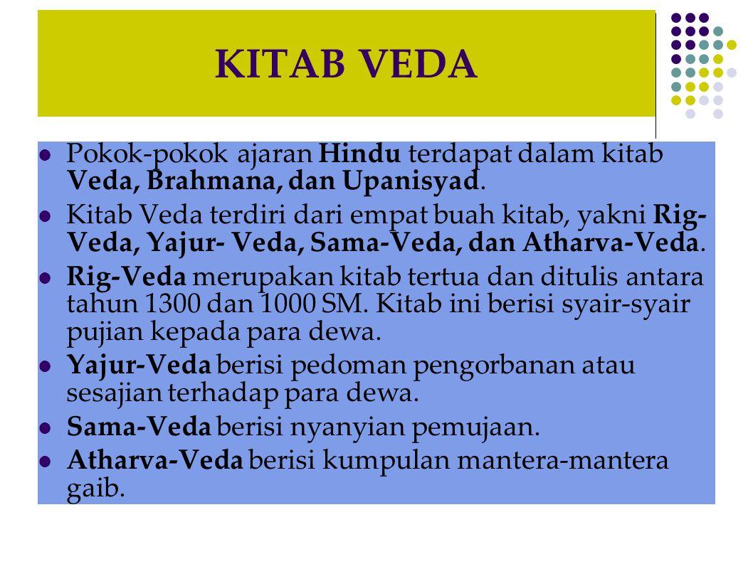 KITAB VEDA Pokok-pokok ajaran Hindu terdapat dalam kitab Veda, Brahmana, dan Upanisyad. Kitab Veda terdiri dari empat buah kitab, yakni Rig- Veda, Yaj