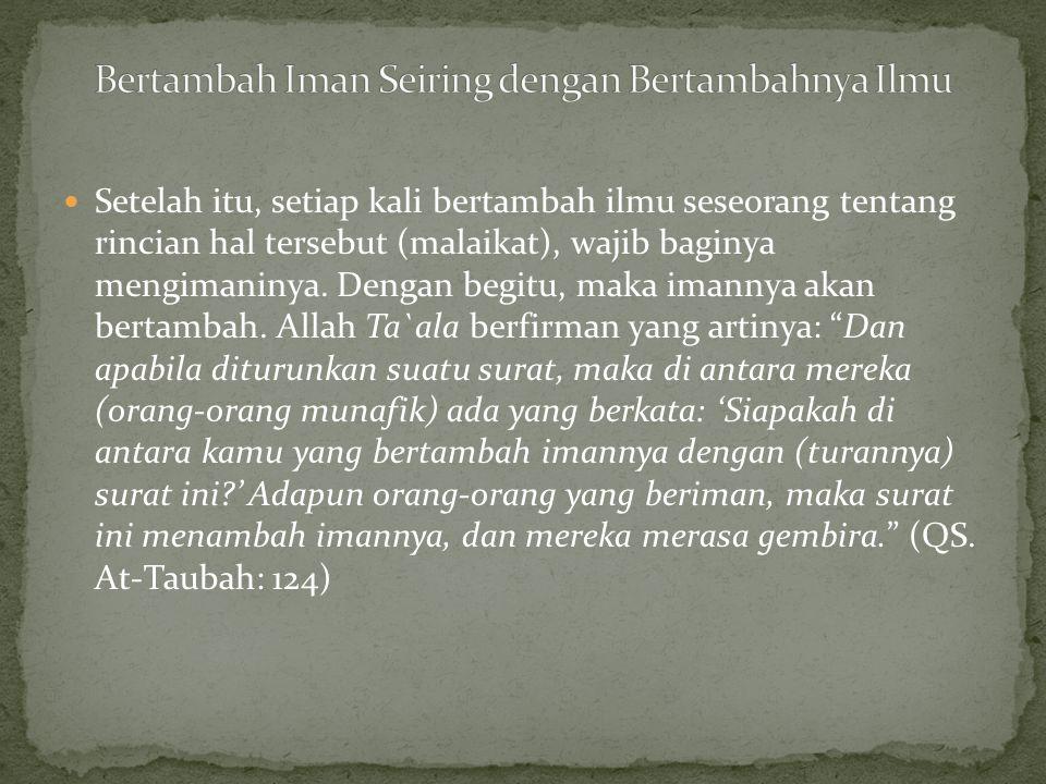  Syaikh Shalih bin `Abdul `Aziz Alu Syaikh hafidzahullah mengatakan: Batas minimal (iman kepada malaikat) adalah keimanan bahwasanya Allah menciptakan makhluk yang bernama malaikat.