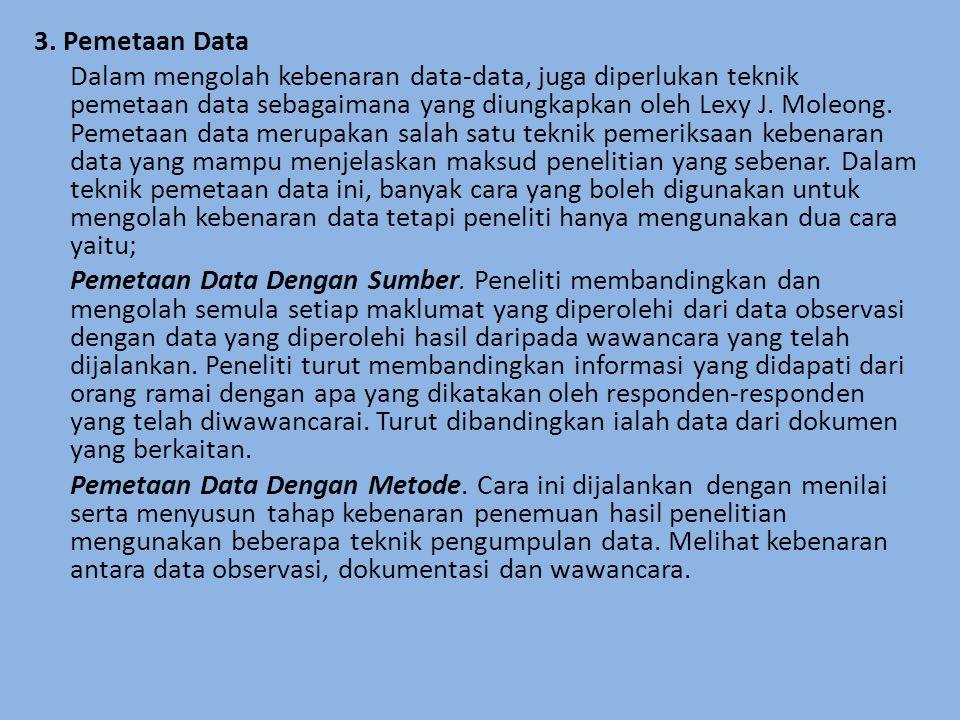 3. Pemetaan Data Dalam mengolah kebenaran data-data, juga diperlukan teknik pemetaan data sebagaimana yang diungkapkan oleh Lexy J. Moleong. Pemetaan