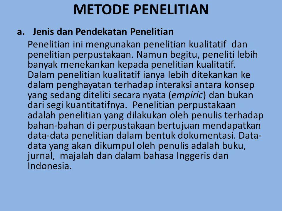 METODE PENELITIAN a.Jenis dan Pendekatan Penelitian Penelitian ini mengunakan penelitian kualitatif dan penelitian perpustakaan.