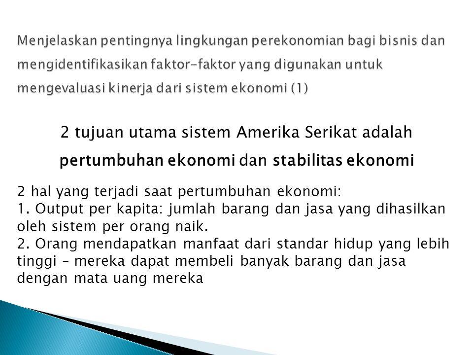 2 tujuan utama sistem Amerika Serikat adalah pertumbuhan ekonomi dan stabilitas ekonomi 2 hal yang terjadi saat pertumbuhan ekonomi: 1. Output per kap
