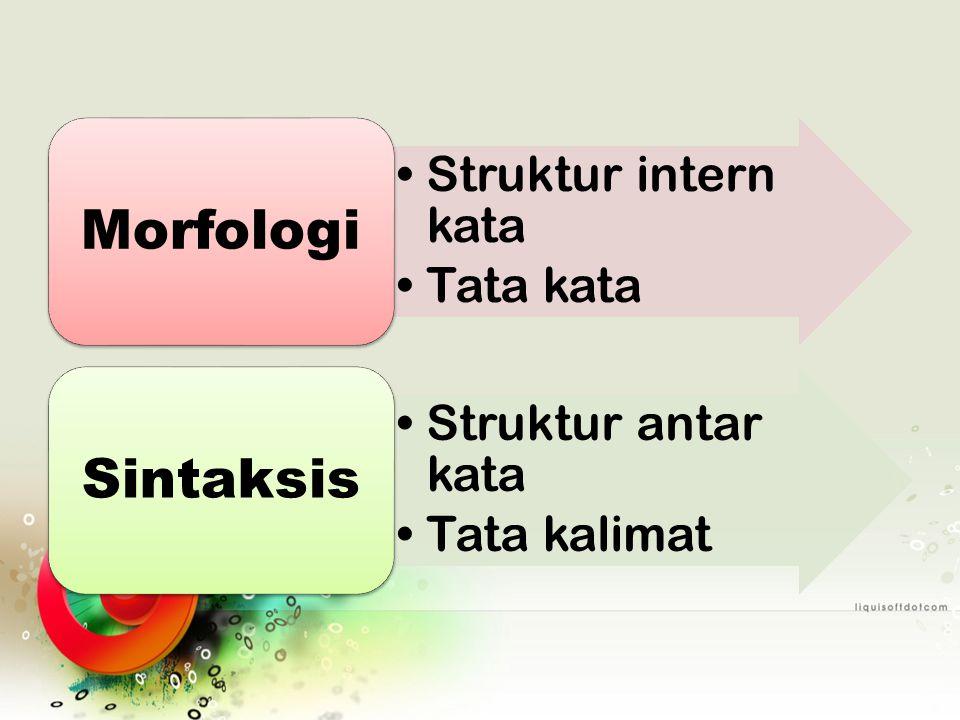Struktur intern kata Tata kata Morfologi Struktur antar kata Tata kalimat Sintaksis