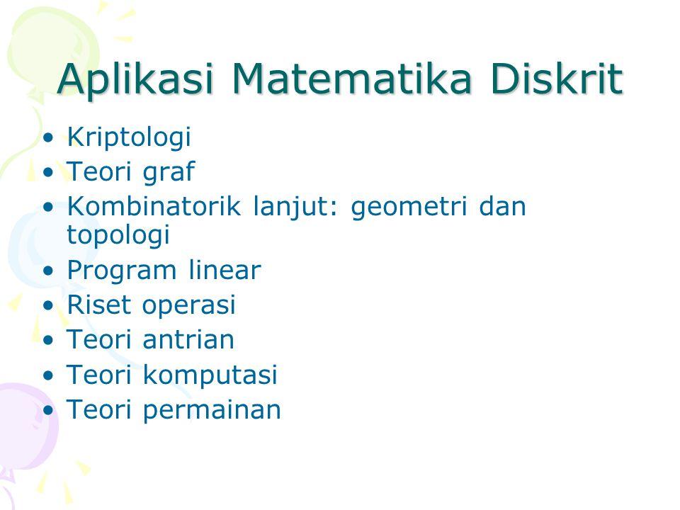 Aplikasi Matematika Diskrit Kriptologi Teori graf Kombinatorik lanjut: geometri dan topologi Program linear Riset operasi Teori antrian Teori komputasi Teori permainan
