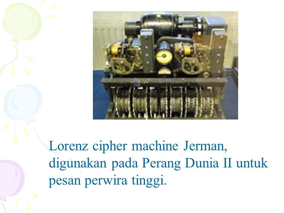 Lorenz cipher machine Jerman, digunakan pada Perang Dunia II untuk pesan perwira tinggi.