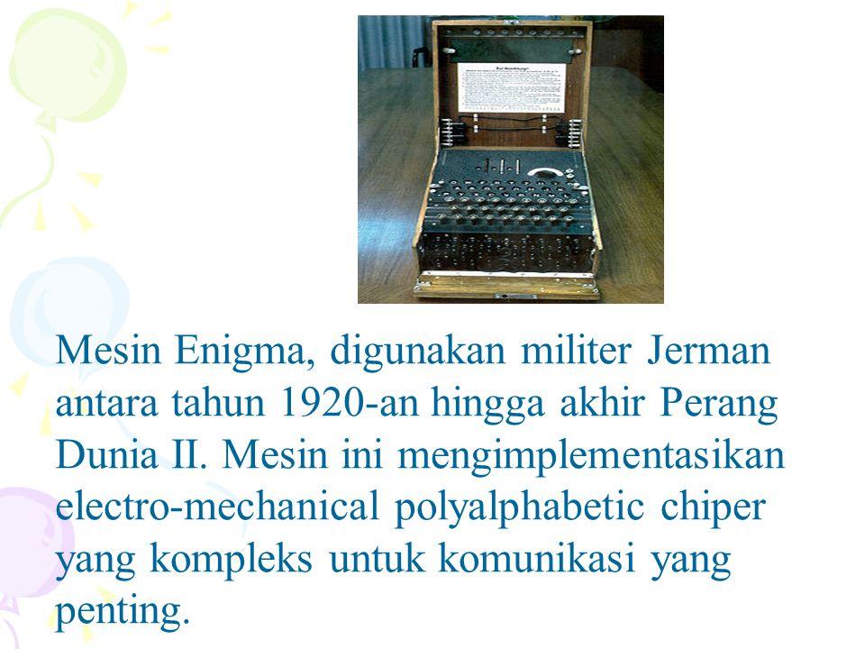 Mesin Enigma, digunakan militer Jerman antara tahun 1920-an hingga akhir Perang Dunia II.