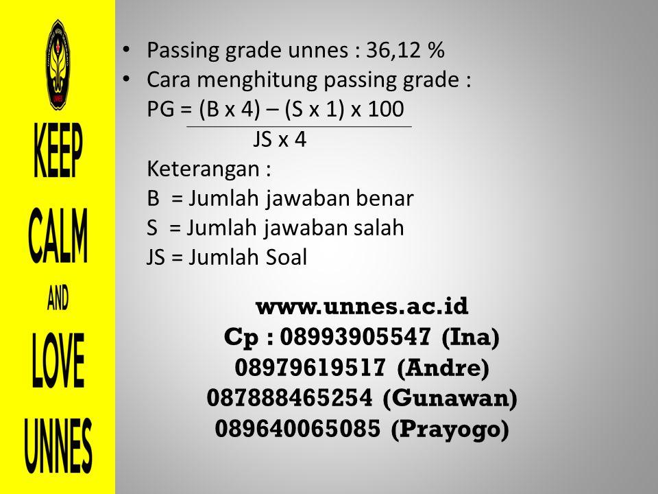 Passing grade unnes : 36,12 % Cara menghitung passing grade : PG = (B x 4) – (S x 1) x 100 JS x 4 Keterangan : B = Jumlah jawaban benar S = Jumlah jaw